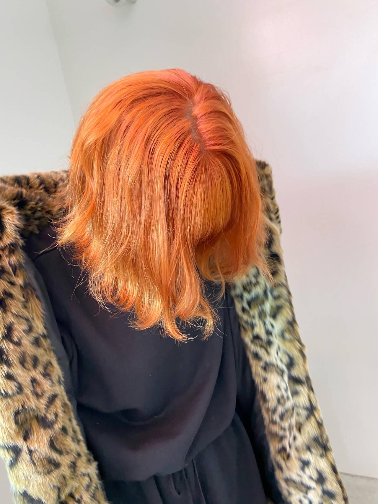 切りっぱなしボブ アプリコットオレンジ オレンジベージュ ガーリーヘアスタイルや髪型の写真・画像