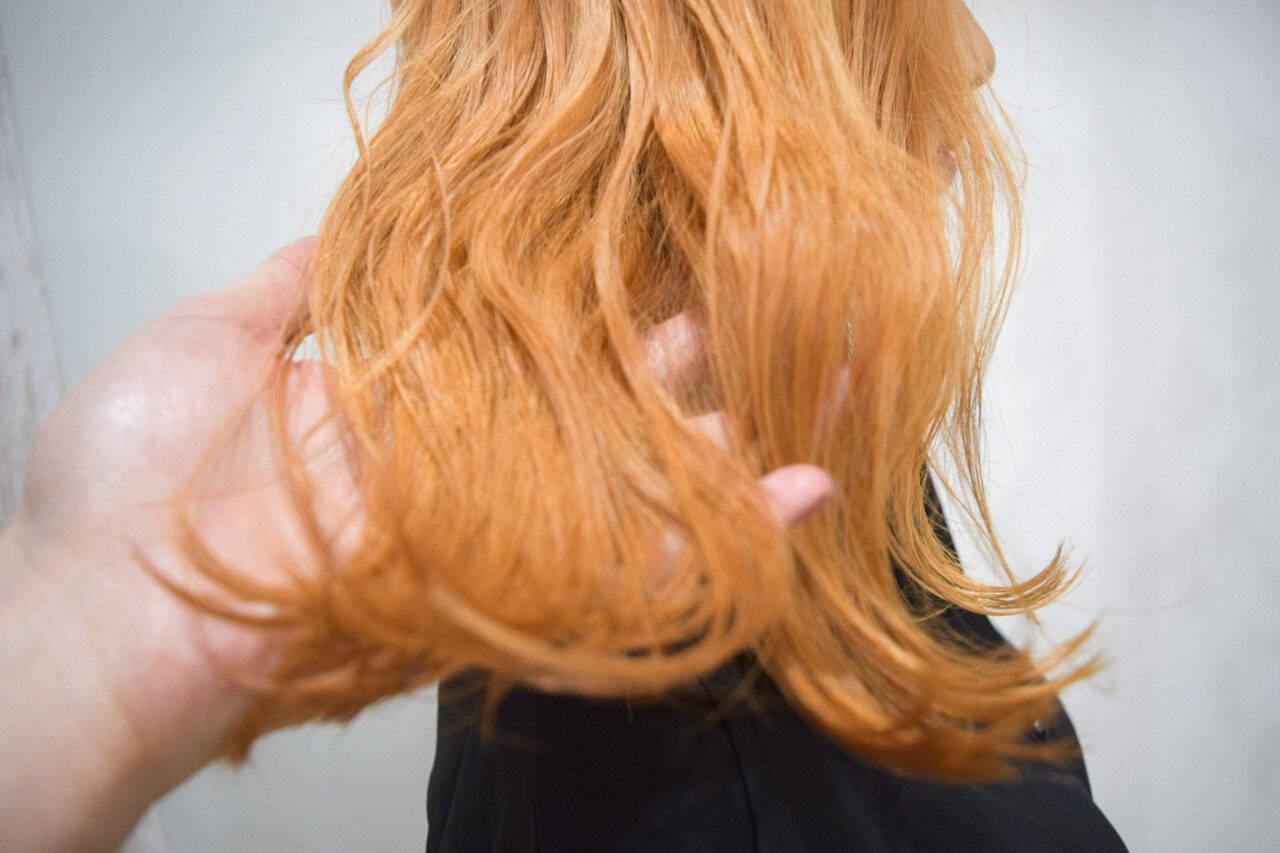 オレンジ ナチュラル オレンジベージュ アプリコットオレンジヘアスタイルや髪型の写真・画像