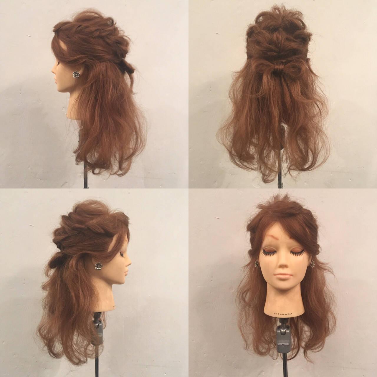 ヘアアレンジ セミロング ハーフアップ 波ウェーブヘアスタイルや髪型の写真・画像