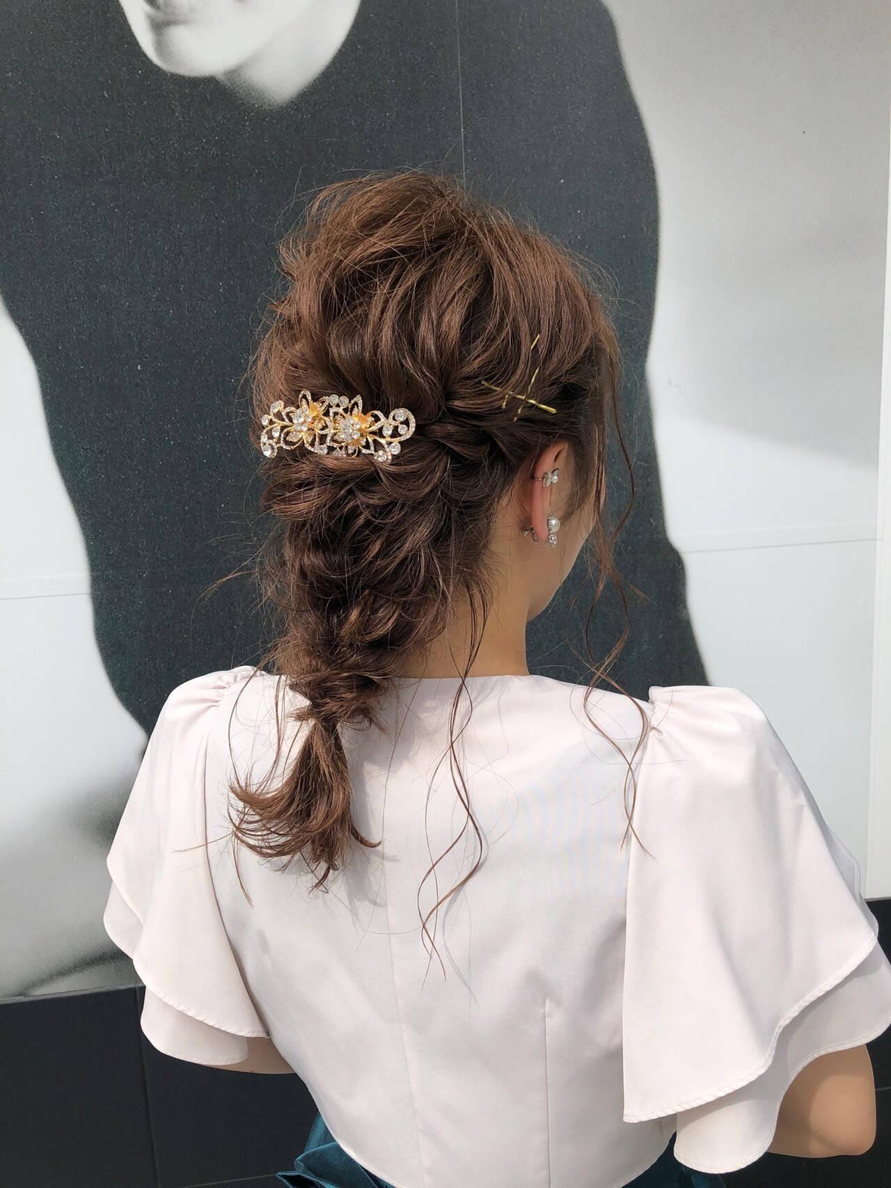 エレガント 編みおろしヘア 結婚式ヘアアレンジ ロングヘアスタイルや髪型の写真・画像