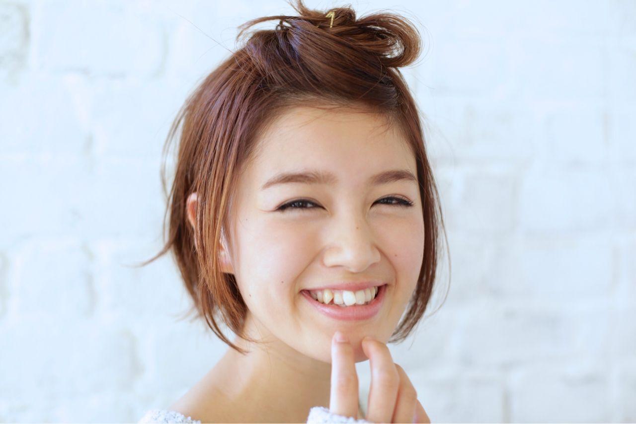 愛され ヘアアレンジ ナチュラル 卵型ヘアスタイルや髪型の写真・画像
