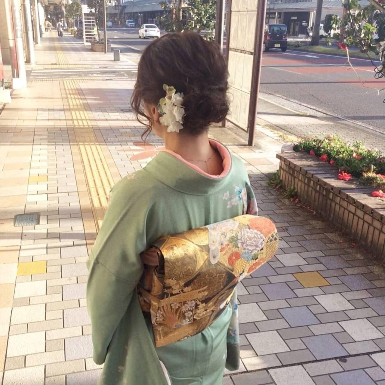 着物 ヘアアレンジ ボブ エレガントヘアスタイルや髪型の写真・画像