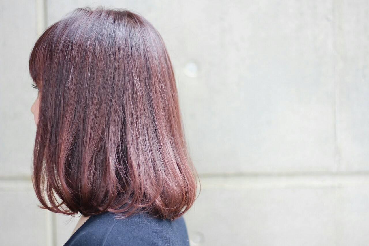 ロブ ガーリー グラデーションカラー ベリーピンクヘアスタイルや髪型の写真・画像