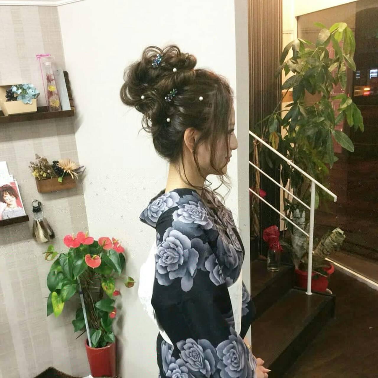 ナチュラル 着物 ヘアアレンジ ロングヘアスタイルや髪型の写真・画像