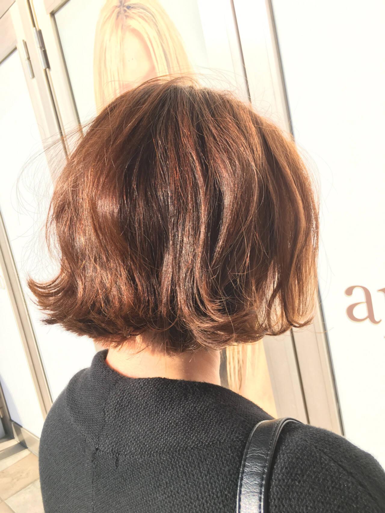 パーマ ボブ 大人女子 春ヘアスタイルや髪型の写真・画像