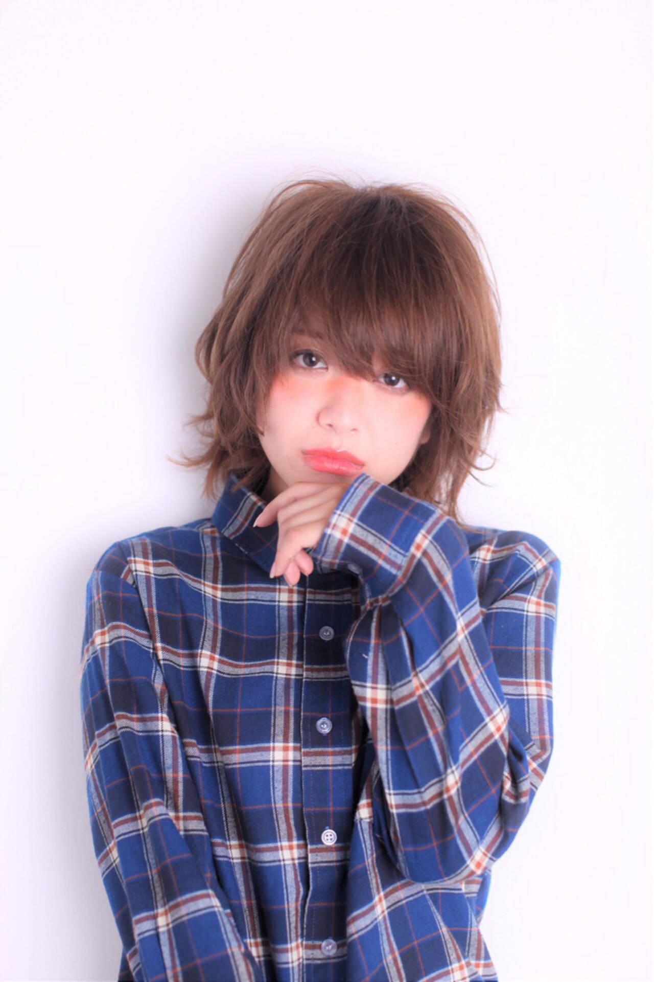ウルフカット おフェロ 秋 ショートヘアスタイルや髪型の写真・画像