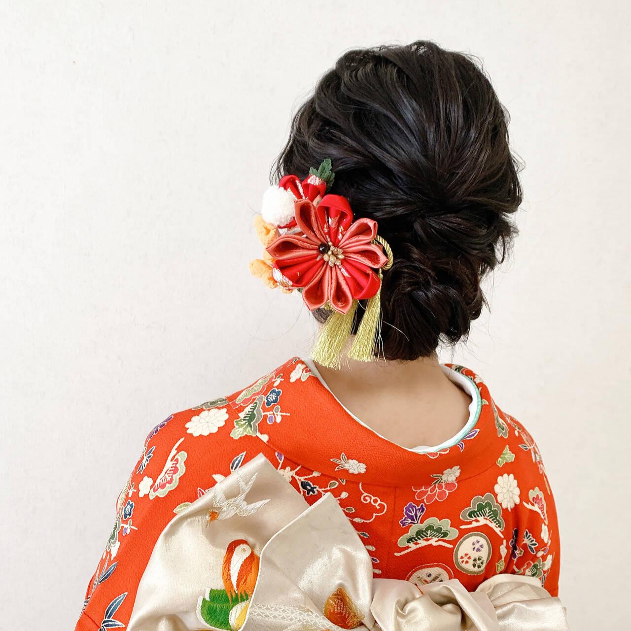 結婚式 エレガント 振袖ヘア 結婚式ヘアアレンジヘアスタイルや髪型の写真・画像