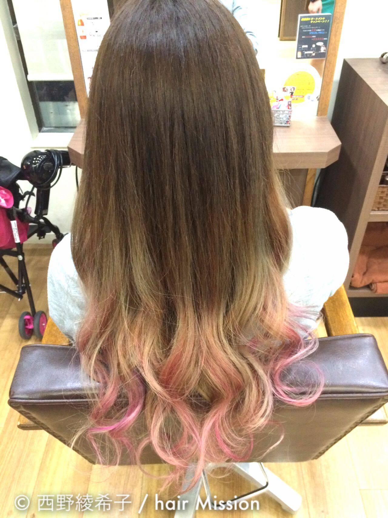 ロング グラデーションカラー カラーバターヘアスタイルや髪型の写真・画像