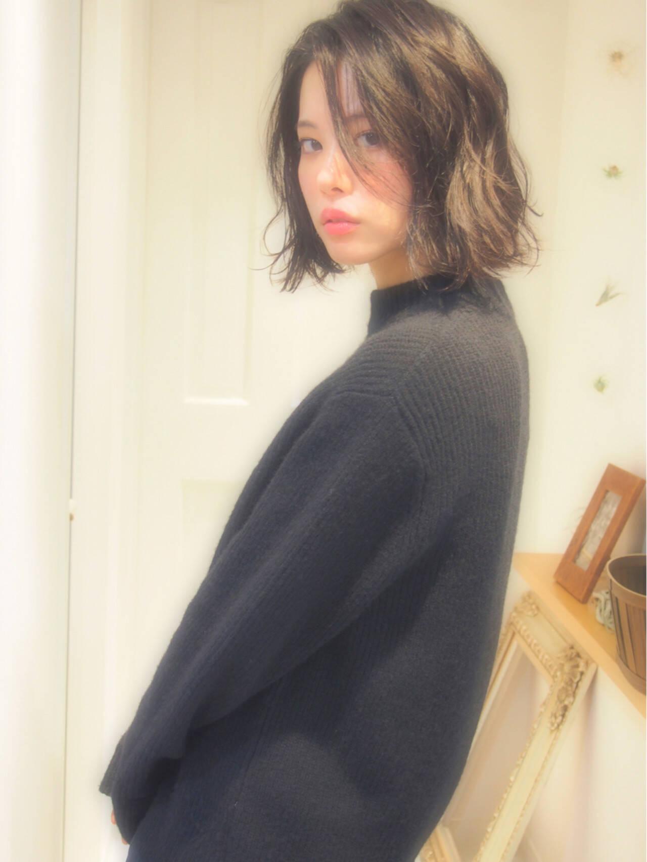 ナチュラル 無造作 ロブ ボブヘアスタイルや髪型の写真・画像