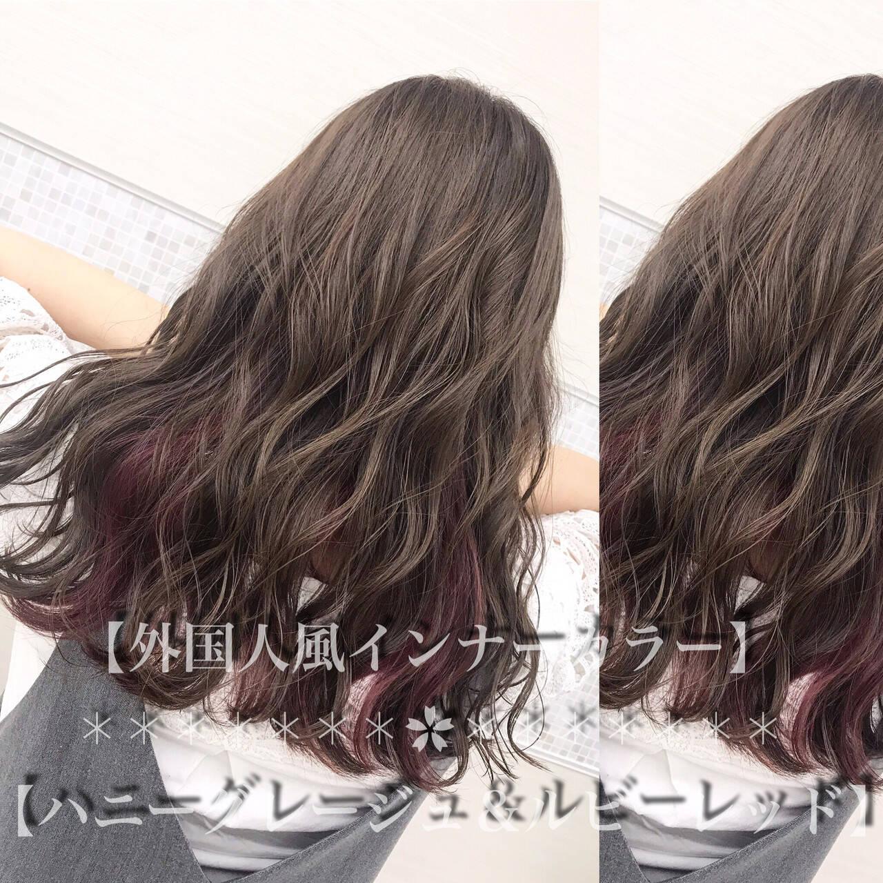 ブラウンベージュ ミルクティーベージュ フェミニン グレージュヘアスタイルや髪型の写真・画像