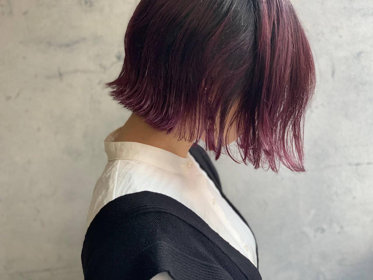 ガーリー ピンクバイオレット 外ハネボブ ピンクパープルヘアスタイルや髪型の写真・画像