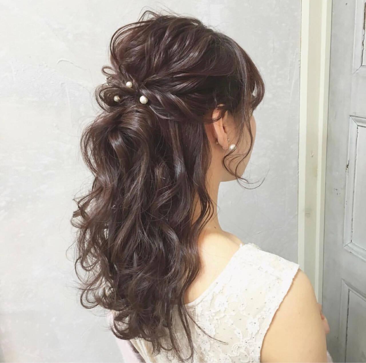 成人式 簡単ヘアアレンジ 謝恩会 結婚式ヘアスタイルや髪型の写真・画像