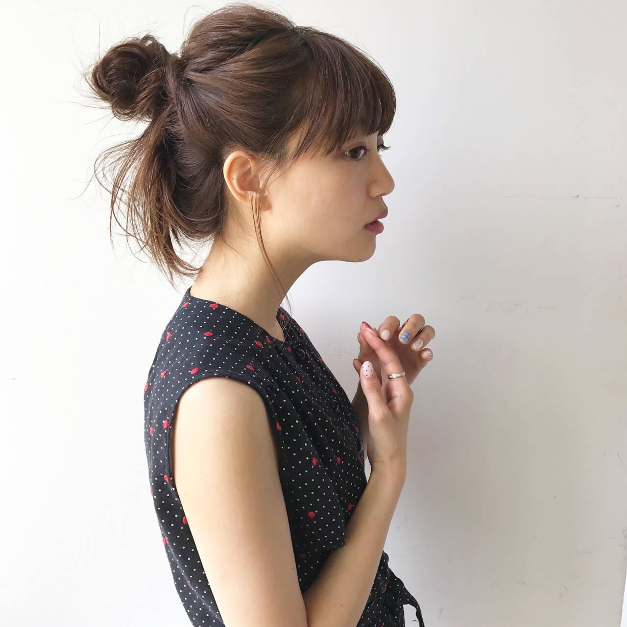 女子会 ミディアム ナチュラル 簡単ヘアアレンジヘアスタイルや髪型の写真・画像