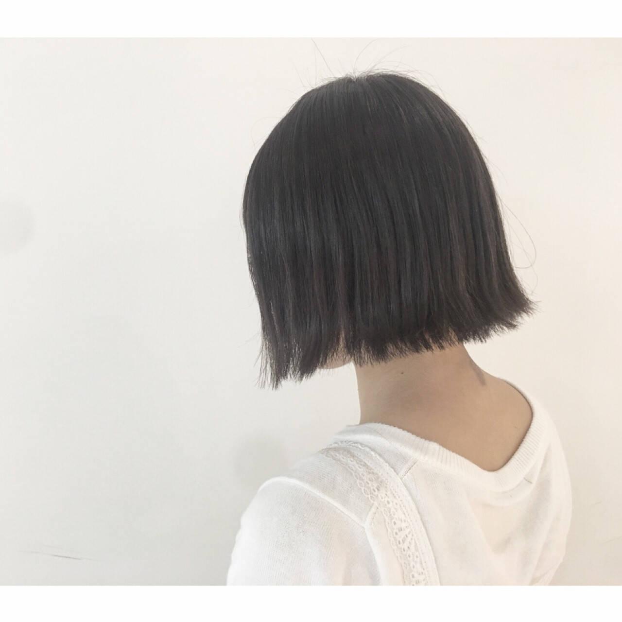 色気 黒髪 グレー ボブヘアスタイルや髪型の写真・画像
