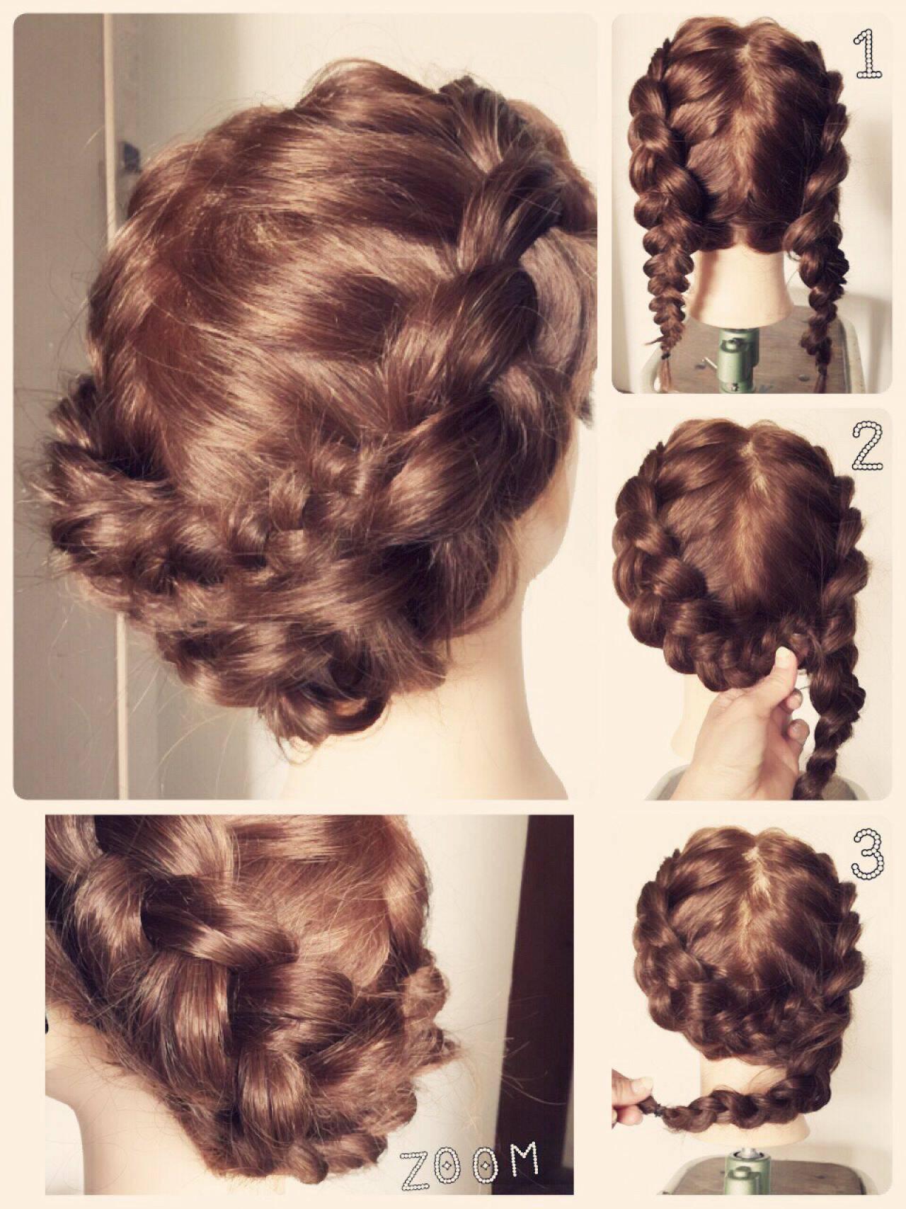 編み込み ヘアアレンジ 裏編み込み ミディアムヘアスタイルや髪型の写真・画像