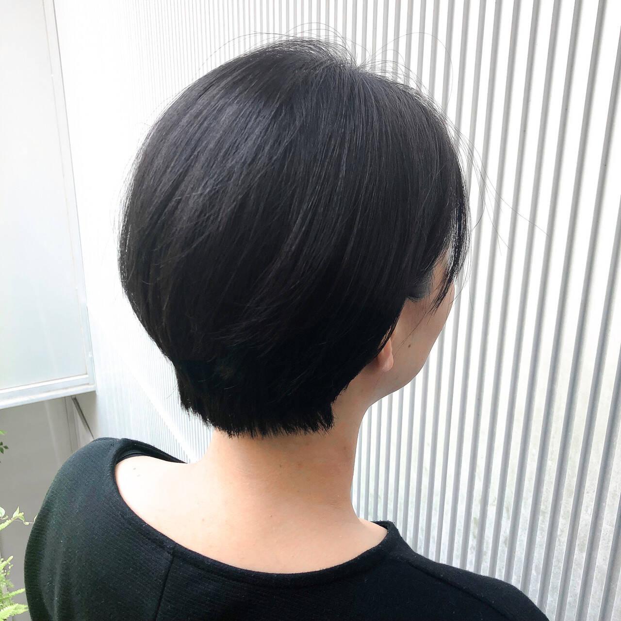 アッシュ ストレート ショート ナチュラルヘアスタイルや髪型の写真・画像