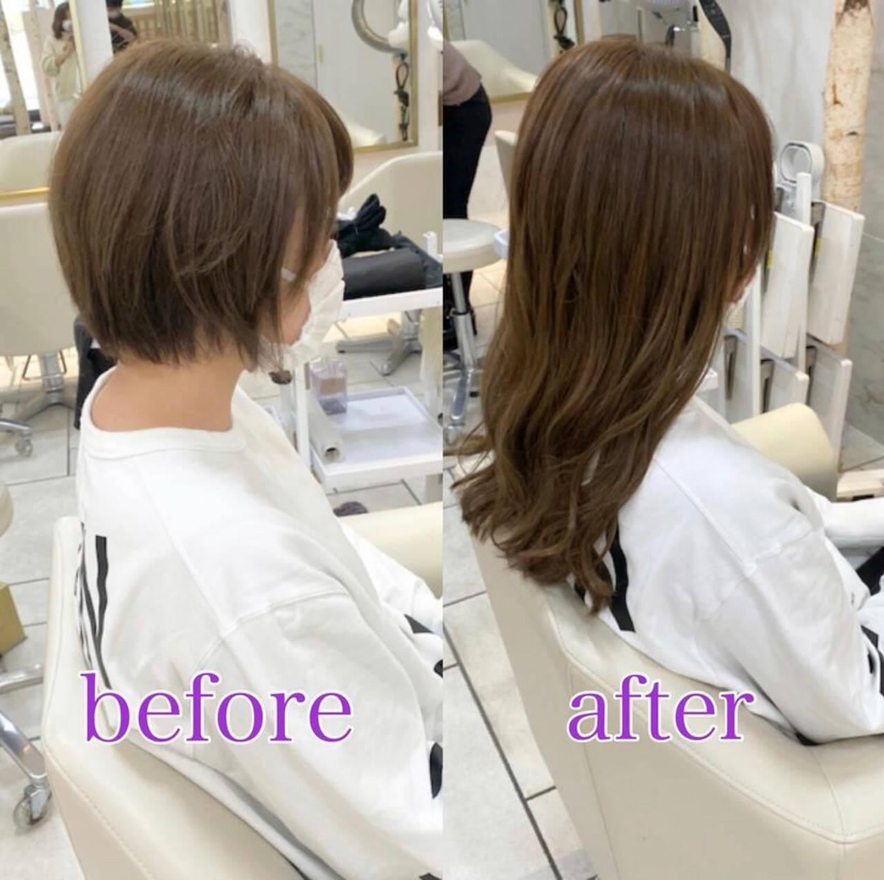 ロング 髪質改善トリートメント イメチェン 大人ミディアムヘアスタイルや髪型の写真・画像