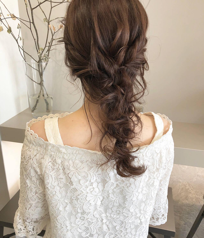 大人可愛い 編みおろし ロング ナチュラルヘアスタイルや髪型の写真・画像
