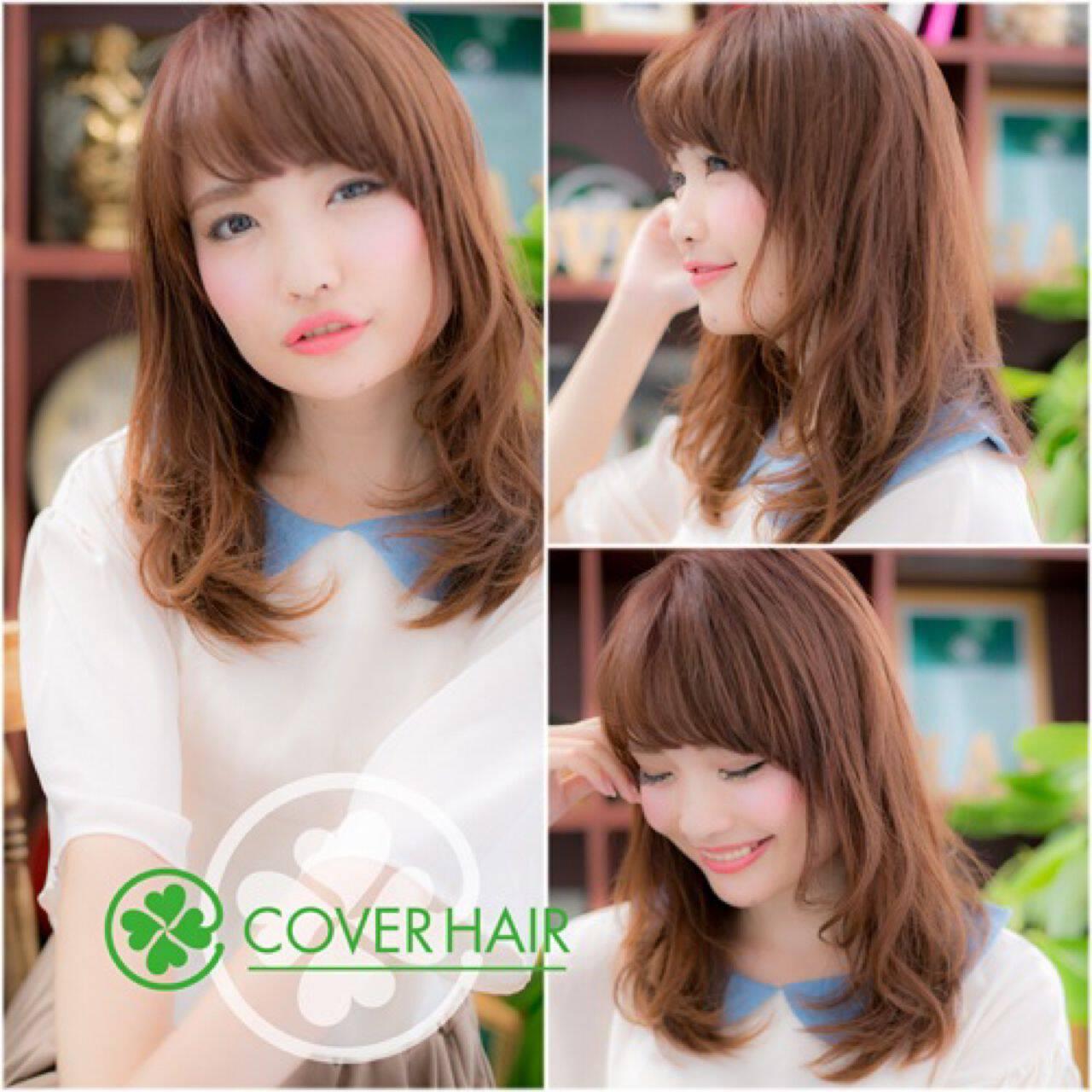パーマ 渋谷系 セミロング レッドヘアスタイルや髪型の写真・画像