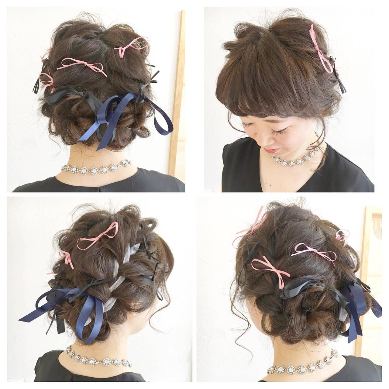 前髪あり ショート 簡単ヘアアレンジ ゆるふわヘアスタイルや髪型の写真・画像