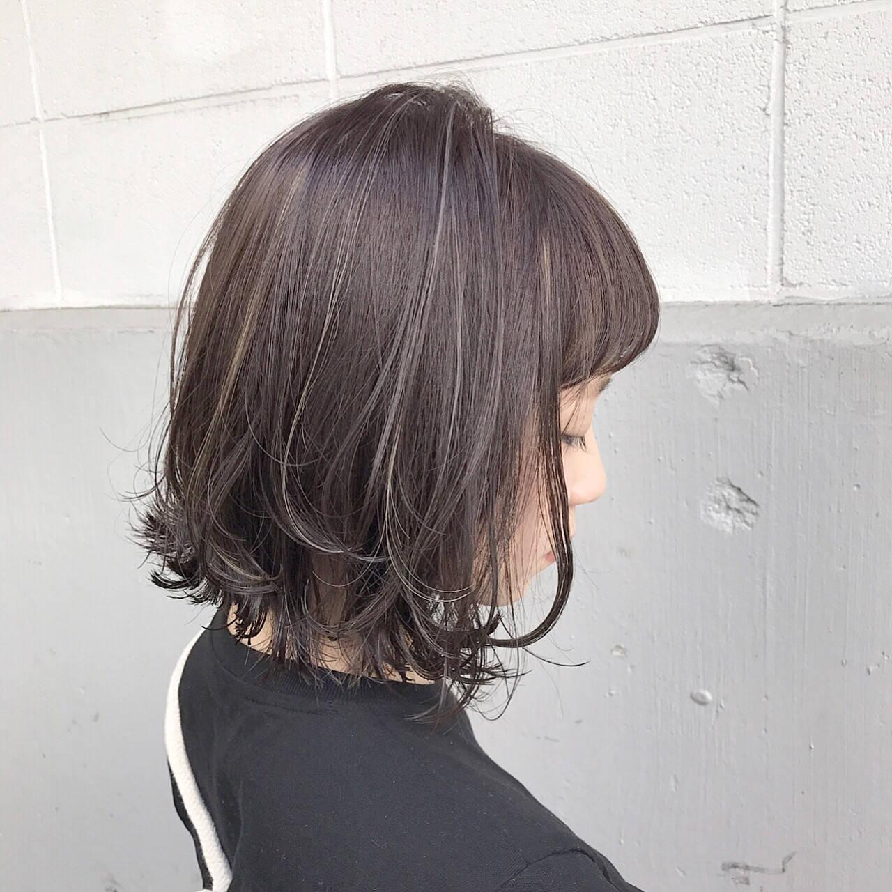 アッシュ 透明感 ボブ モードヘアスタイルや髪型の写真・画像