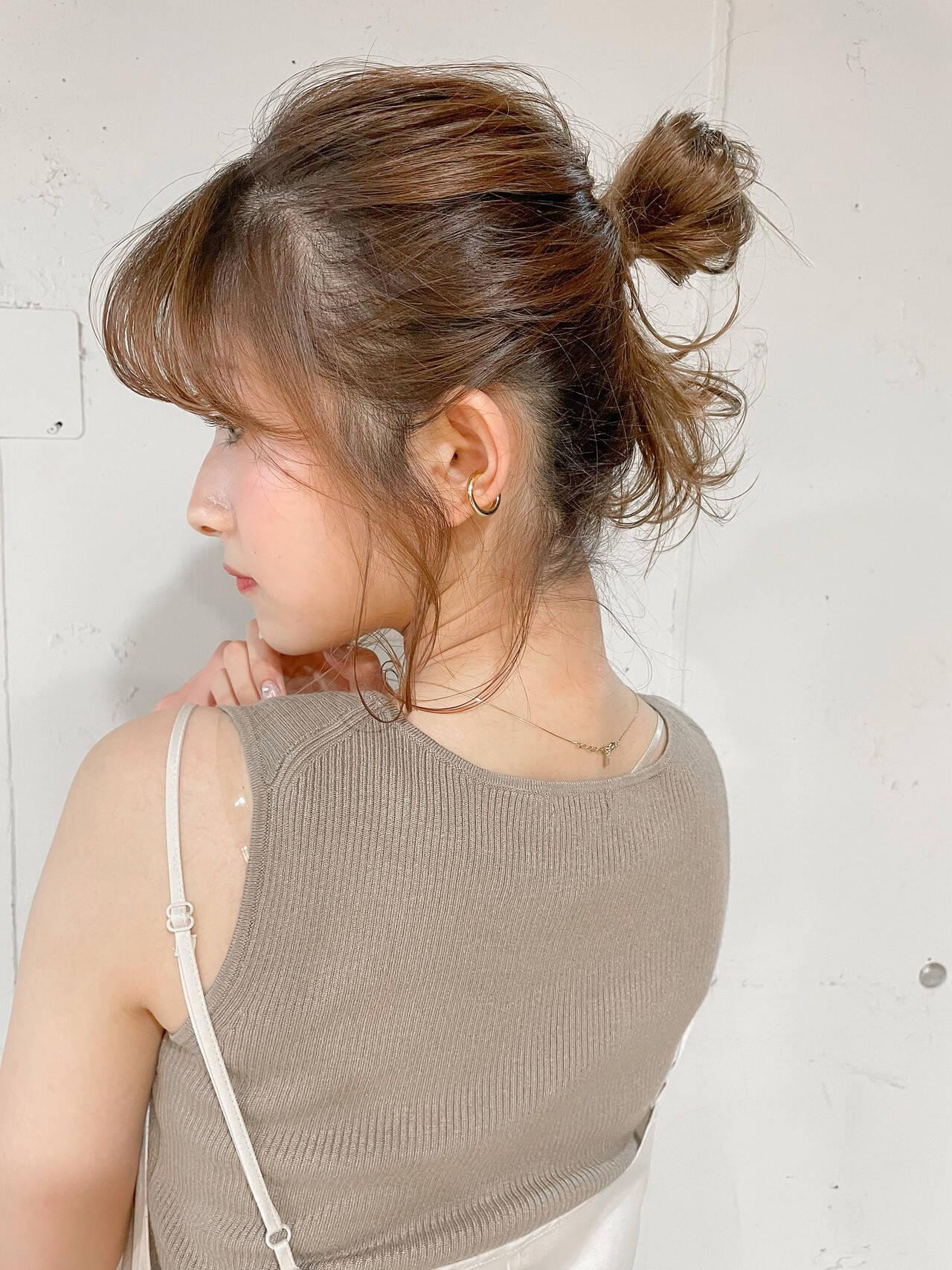 ショートヘアアレンジ セルフヘアアレンジ ヘアアレンジ ナチュラルヘアスタイルや髪型の写真・画像