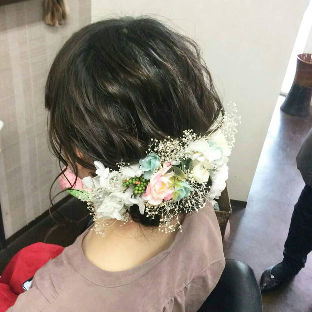 セミロング 成人式 ナチュラル 結婚式ヘアアレンジヘアスタイルや髪型の写真・画像