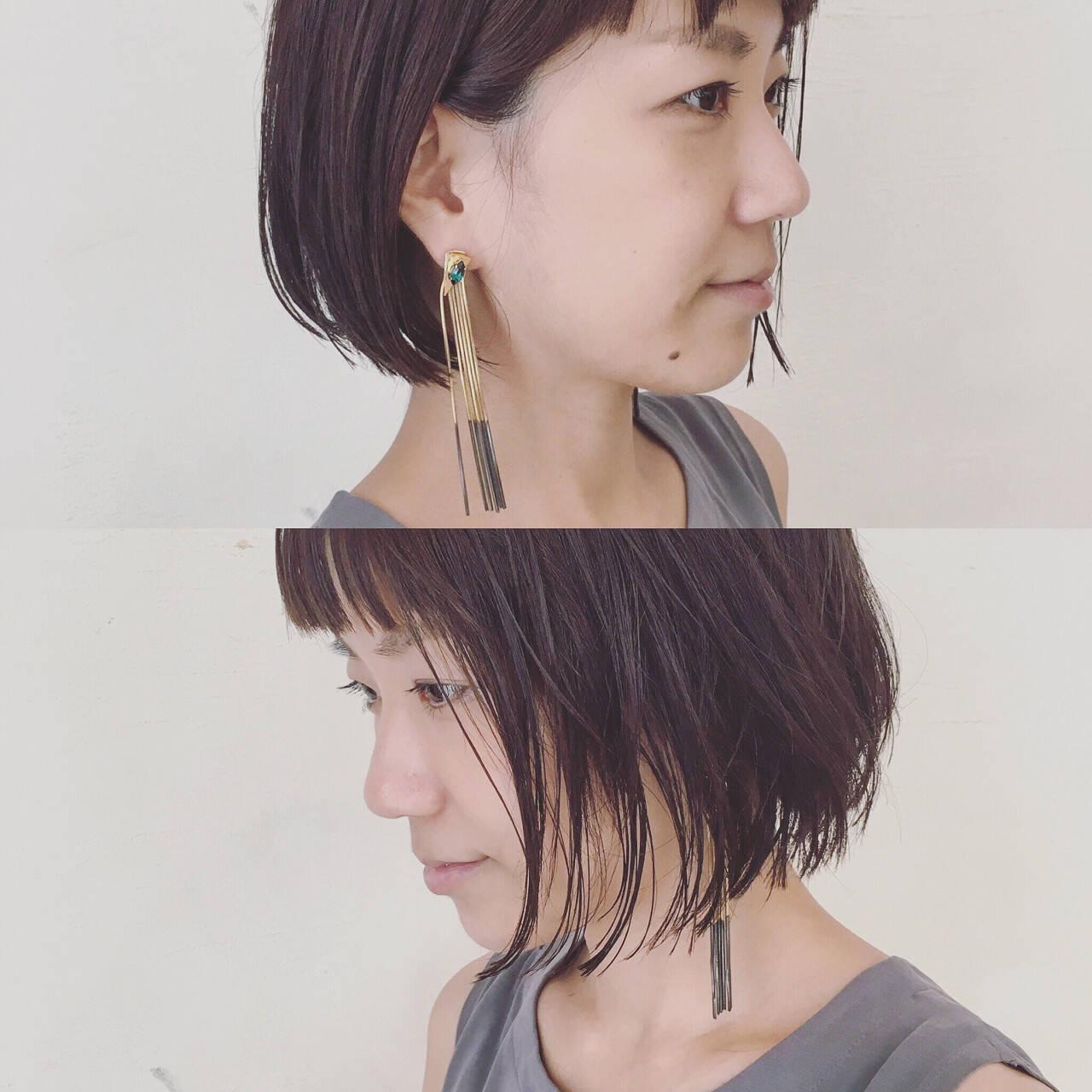ボブ 切りっぱなし 抜け感 束感ヘアスタイルや髪型の写真・画像