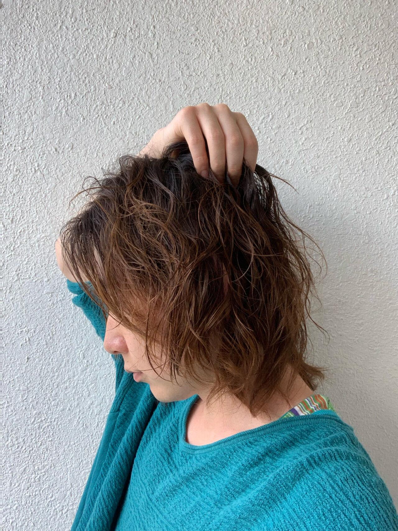 ボブ 無造作パーマ メンズスタイル ストリートヘアスタイルや髪型の写真・画像