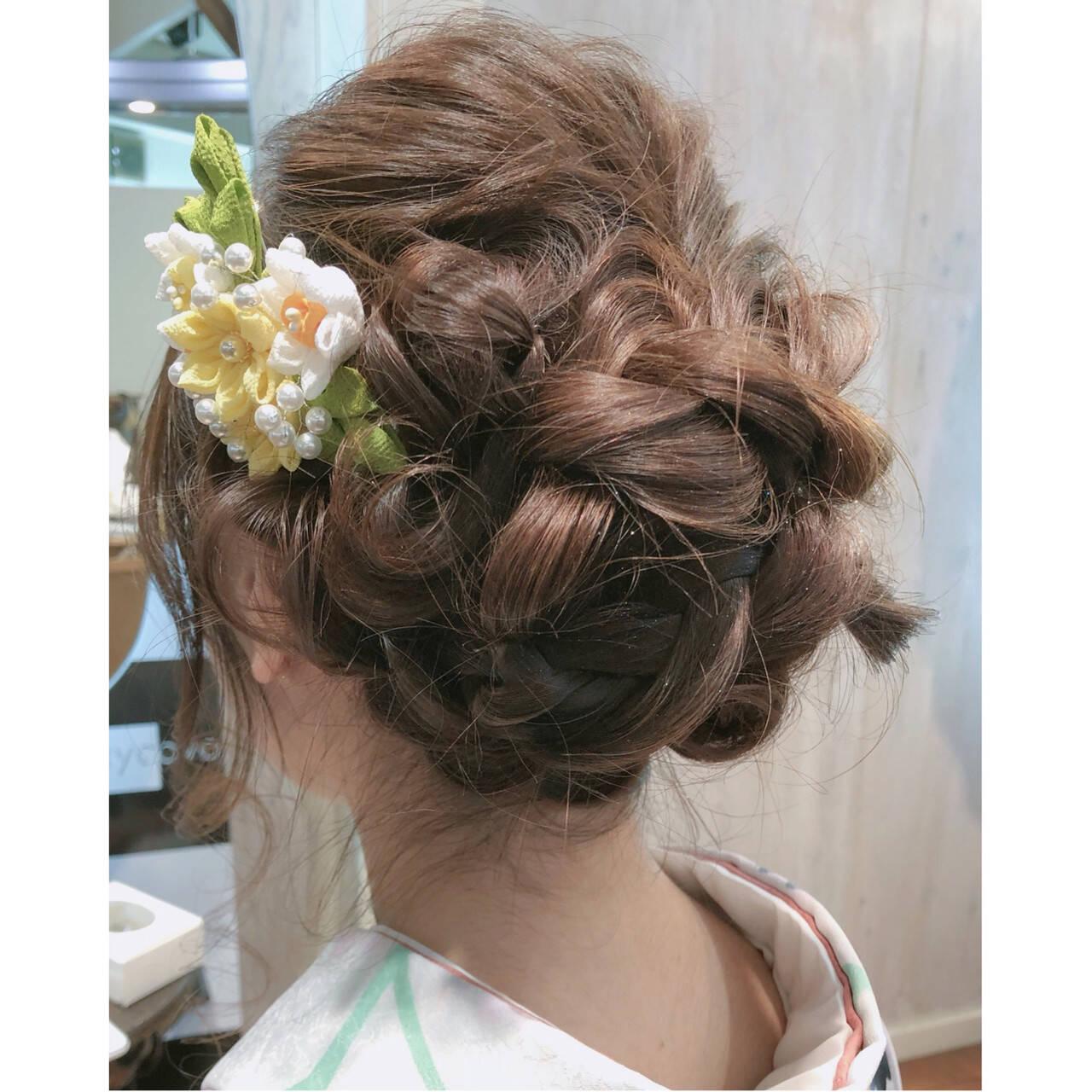 結婚式 謝恩会 ヘアアレンジ セミロングヘアスタイルや髪型の写真・画像
