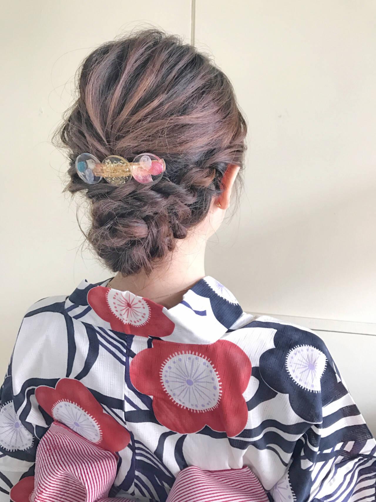 和装 夏 お祭り 涼しげヘアスタイルや髪型の写真・画像