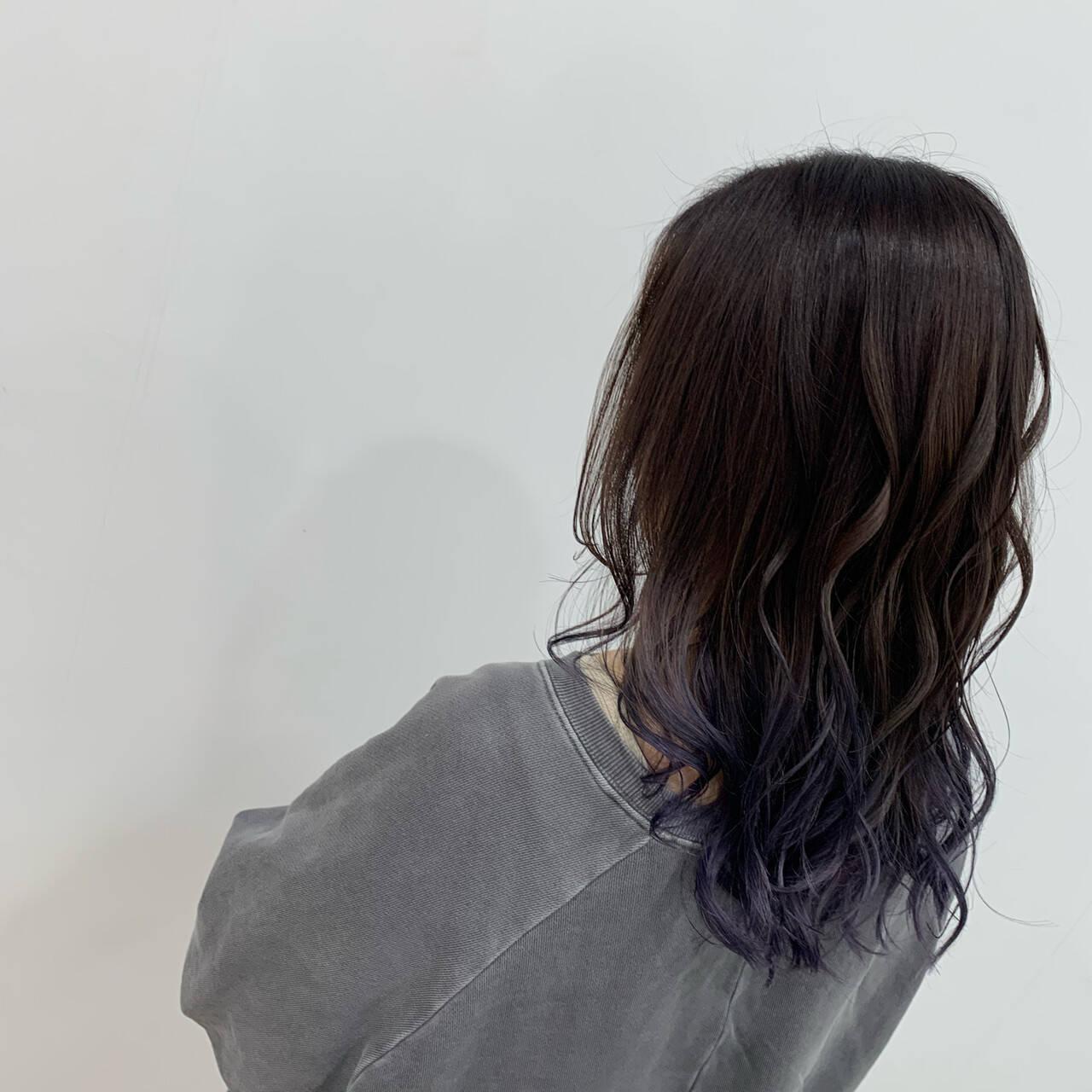 N.オイル ブルーラベンダー グラデーションカラー ブリーチヘアスタイルや髪型の写真・画像