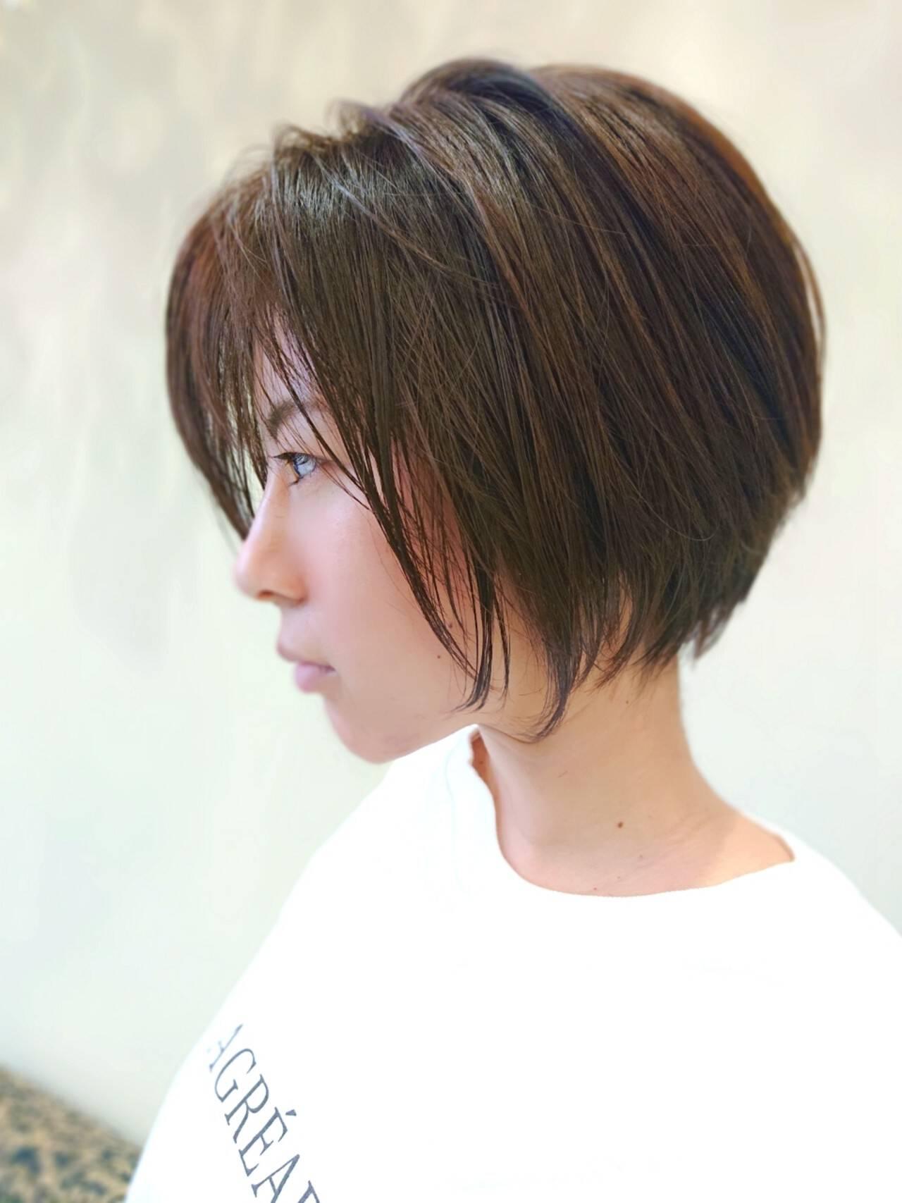 インナーカラー ショートボブ ミニボブ ナチュラルヘアスタイルや髪型の写真・画像
