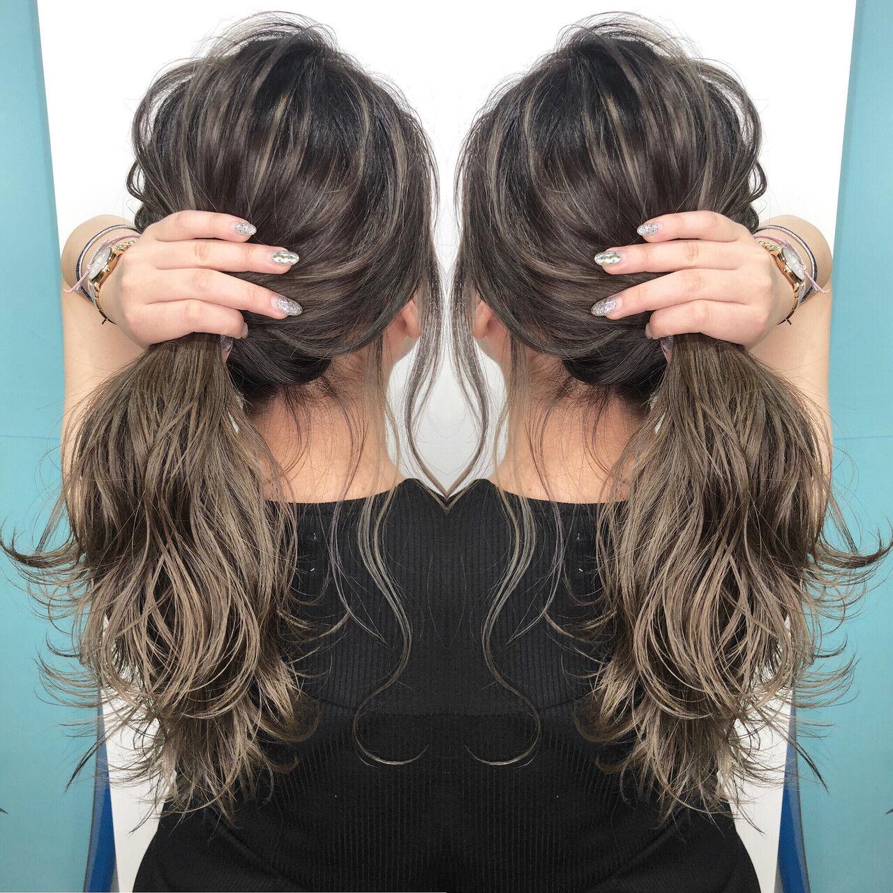 外国人風カラー ハイライト 3Dハイライト ナチュラルヘアスタイルや髪型の写真・画像