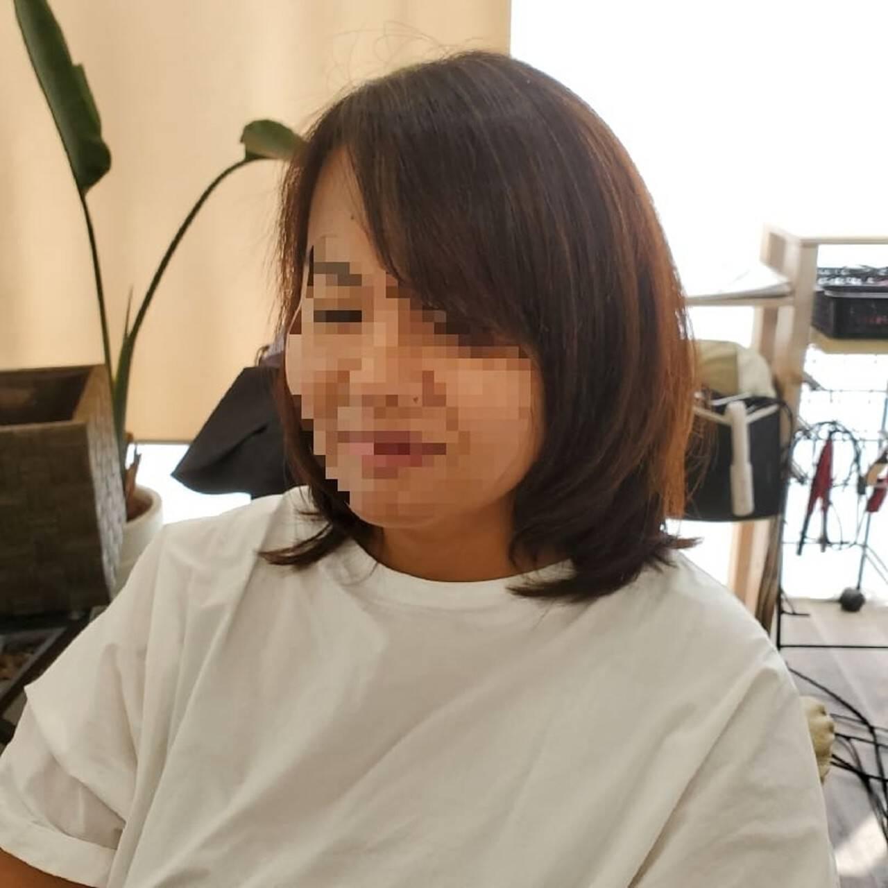 縮毛矯正 フェミニン ミディアム ストカールヘアスタイルや髪型の写真・画像