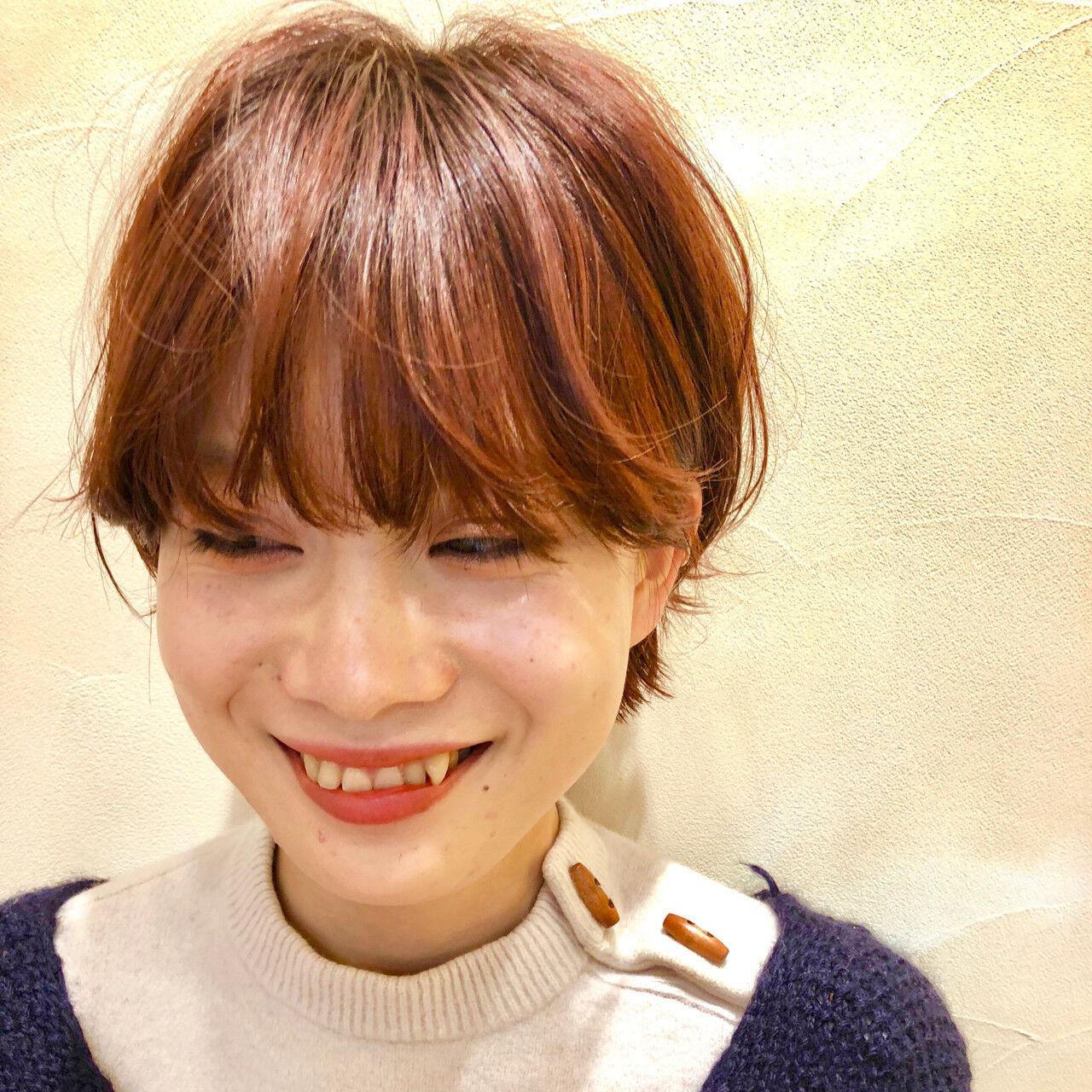 マッシュショート オレンジ ショートボブ マッシュヘアスタイルや髪型の写真・画像