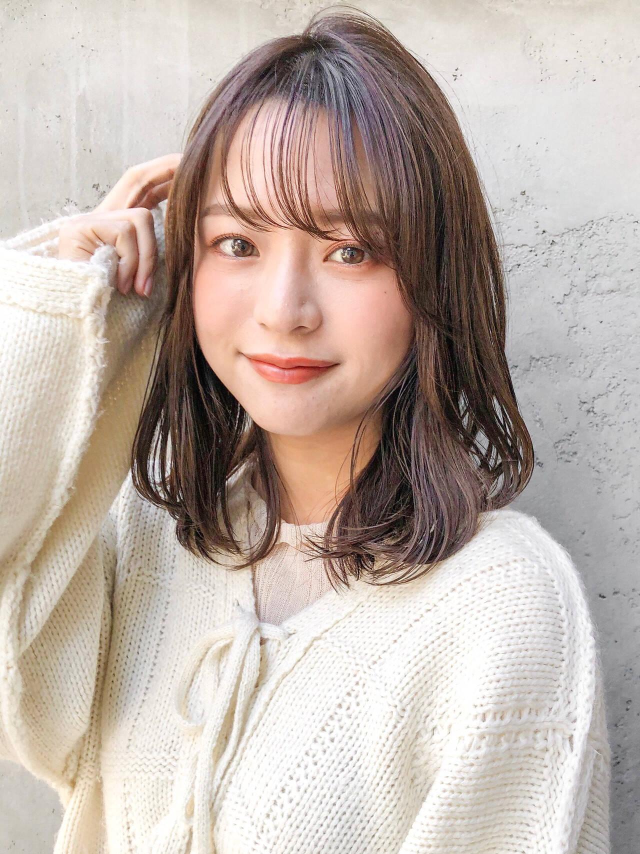 韓国ヘア ひし形シルエット セミロング ナチュラルヘアスタイルや髪型の写真・画像