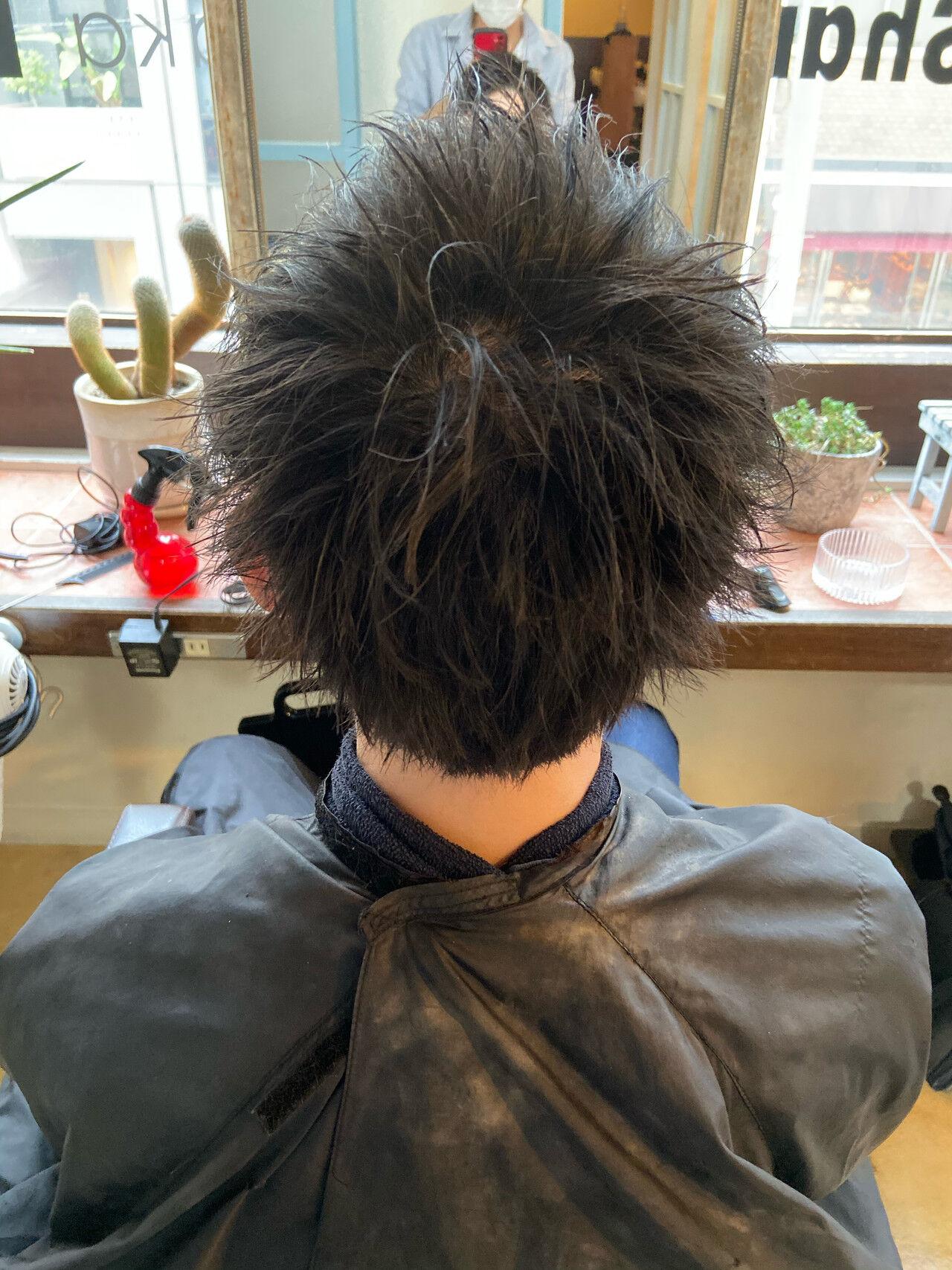 ショート メンズカラー メンズショート フェードカットヘアスタイルや髪型の写真・画像