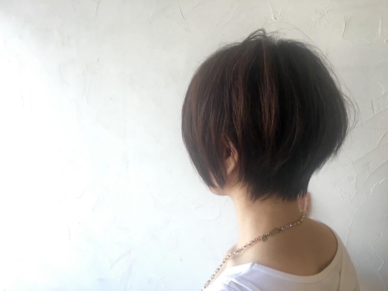 ナチュラル ショート 暗髪 大人かわいいヘアスタイルや髪型の写真・画像