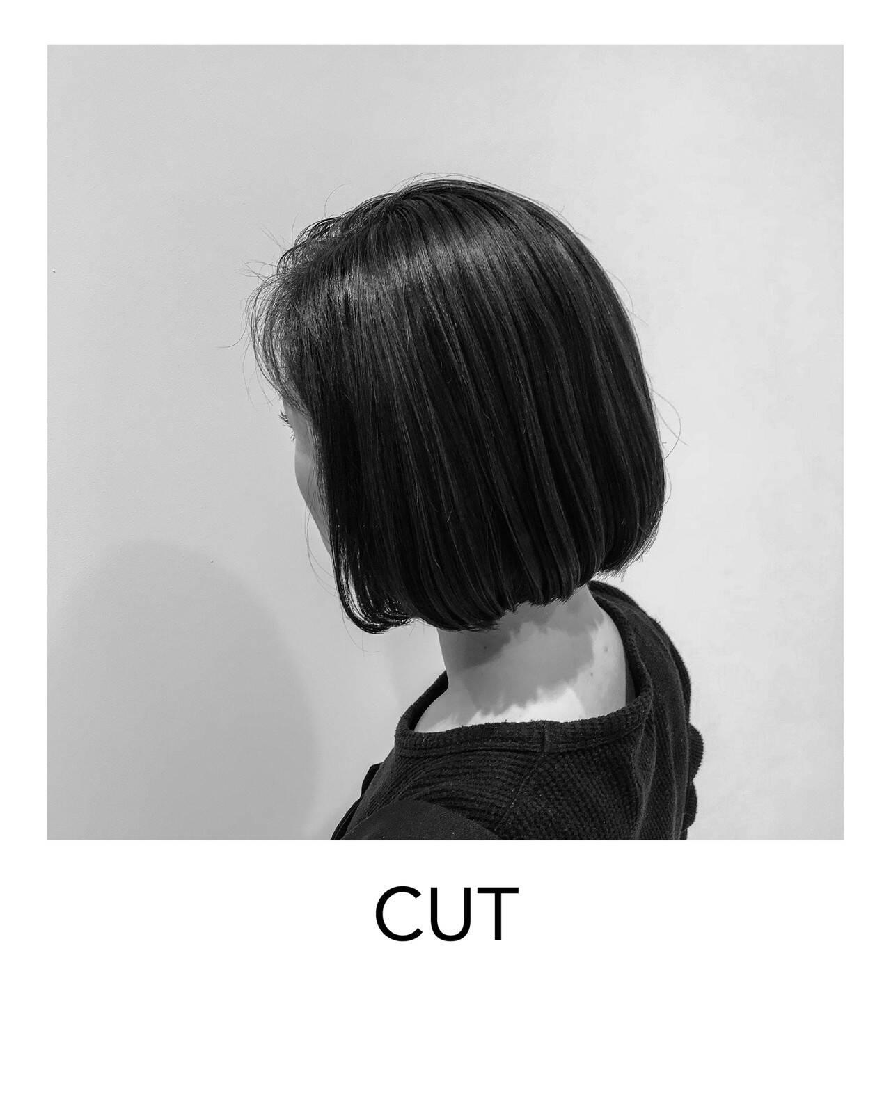 ヘアカット ナチュラル 切りっぱなしボブ ボブヘアスタイルや髪型の写真・画像