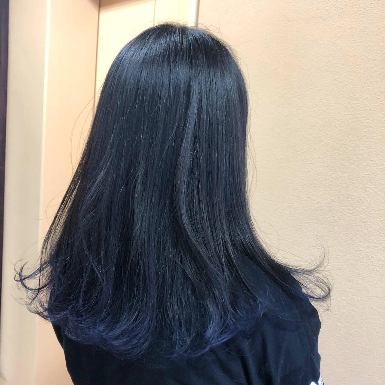 モード ロング ネイビーヘアスタイルや髪型の写真・画像