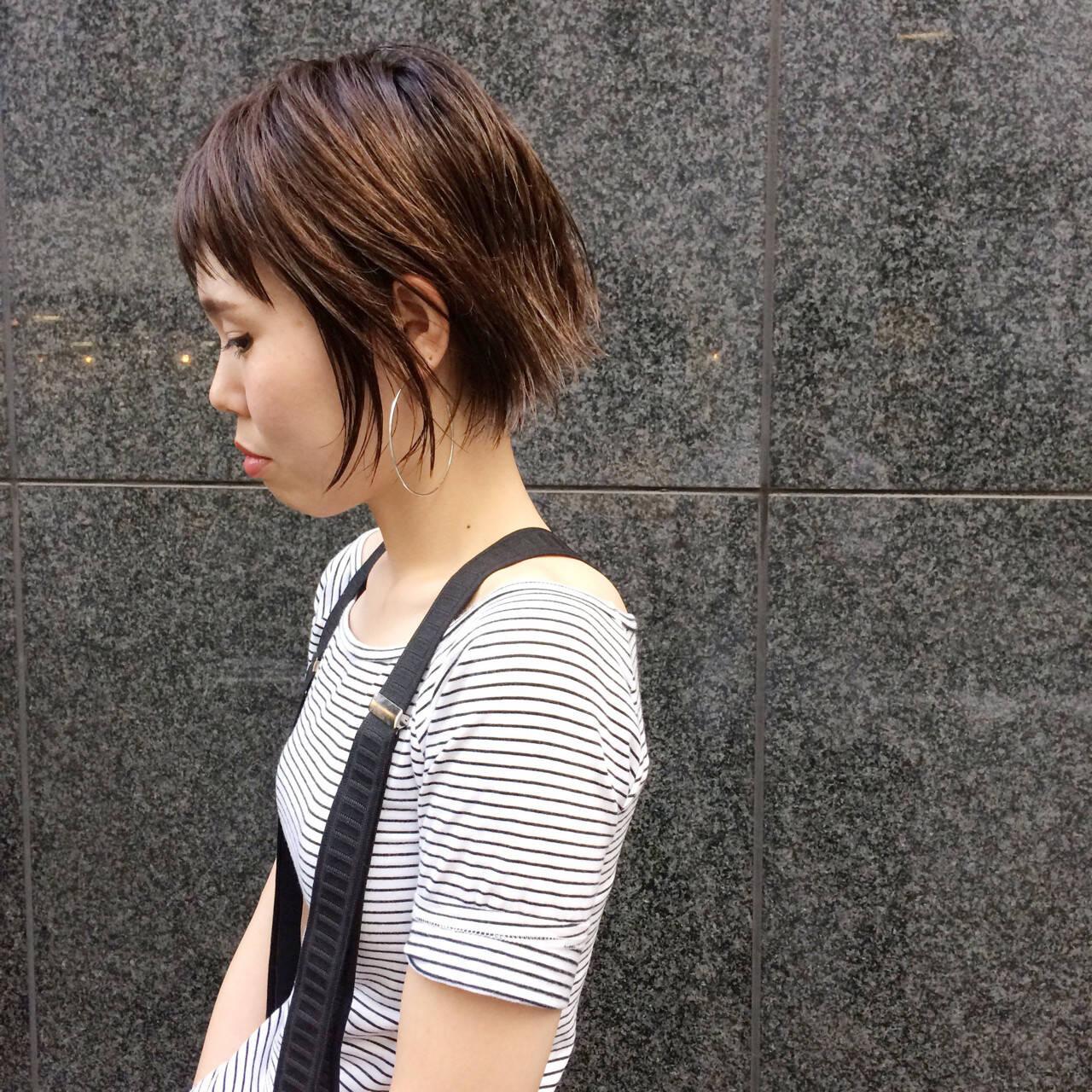 ショート ハイライト ショートボブ 外国人風ヘアスタイルや髪型の写真・画像
