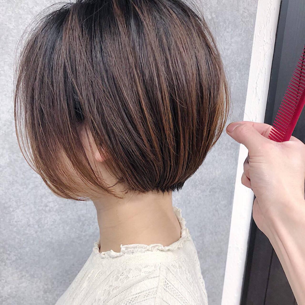 大人ショート ショートボブ ミニボブ ショートヘアスタイルや髪型の写真・画像