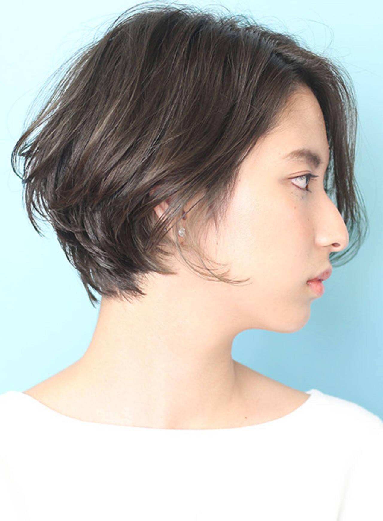ショートボブ 丸みショート 大人ショート 小顔ショートヘアスタイルや髪型の写真・画像
