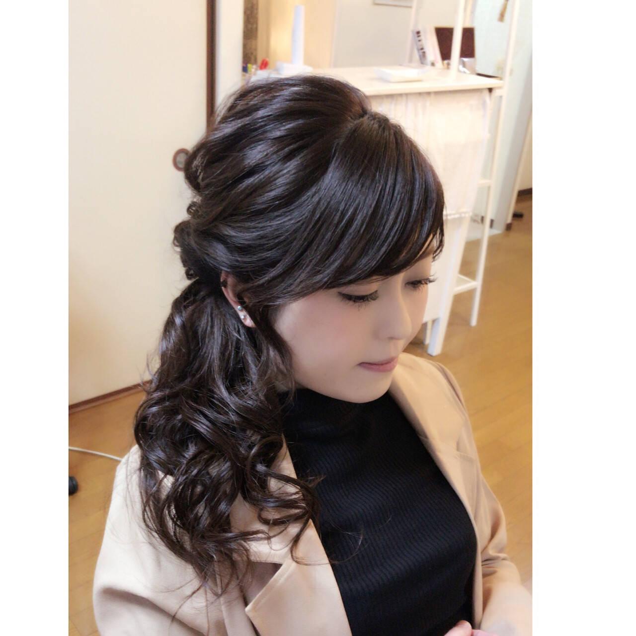 黒髪 ヘアアレンジ ロング 上品ヘアスタイルや髪型の写真・画像