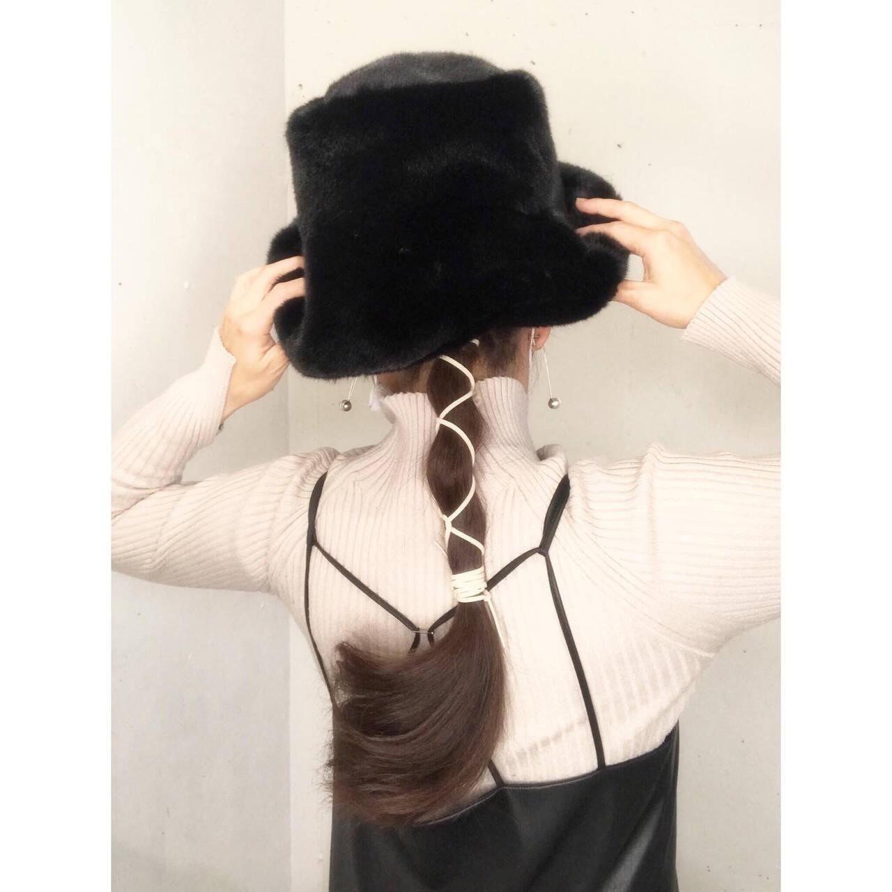 簡単ヘアアレンジ セルフヘアアレンジ 紐アレンジ ロングヘアスタイルや髪型の写真・画像