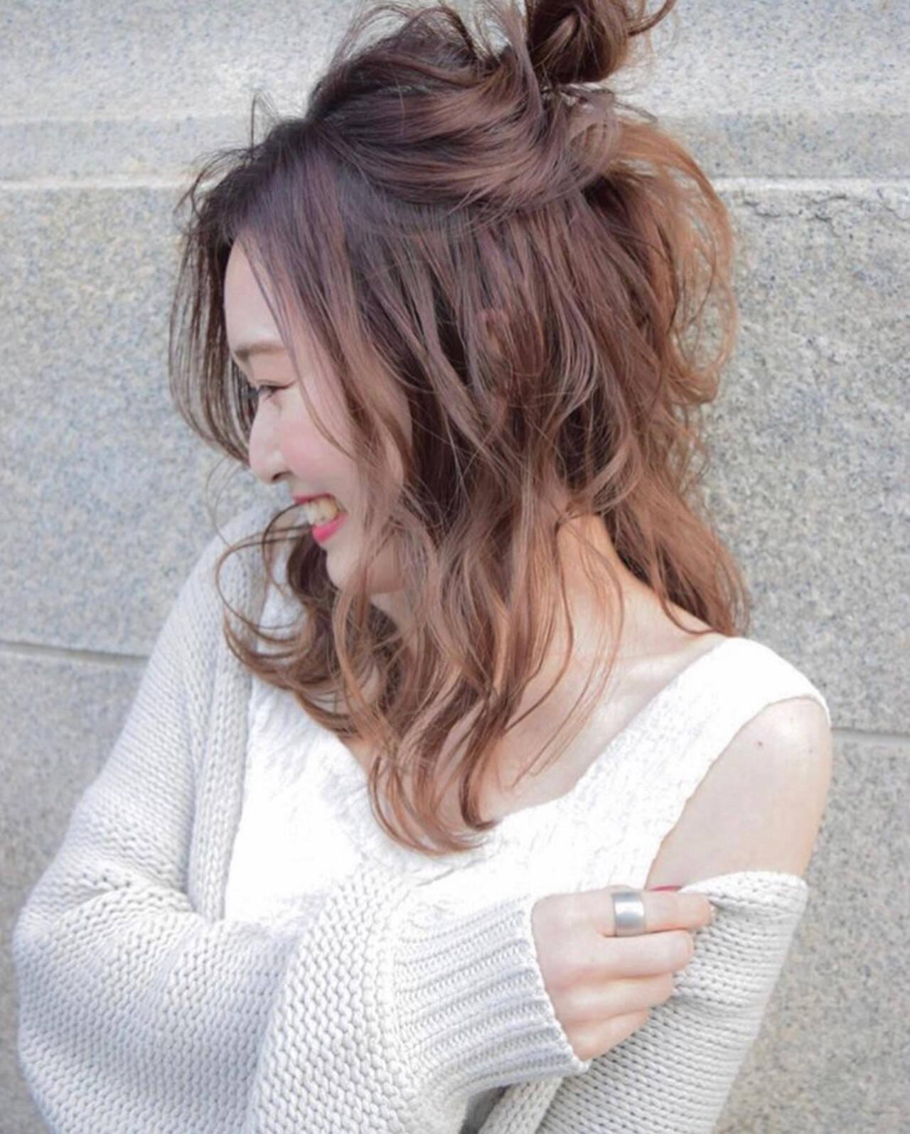 セミロング ヘアアレンジ フェミニン 結婚式ヘアスタイルや髪型の写真・画像