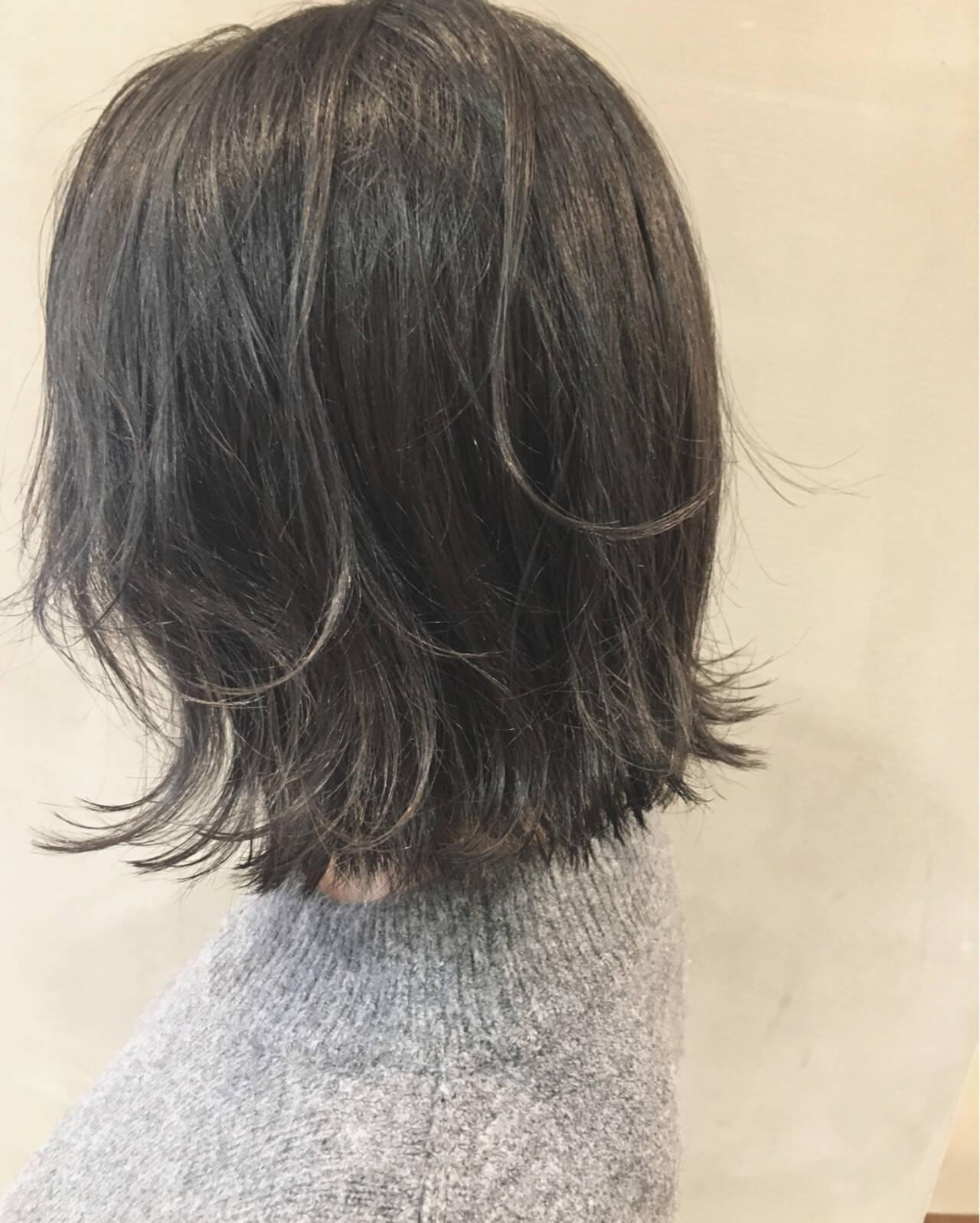 グラデーションカラー ボブ アッシュ ナチュラルヘアスタイルや髪型の写真・画像