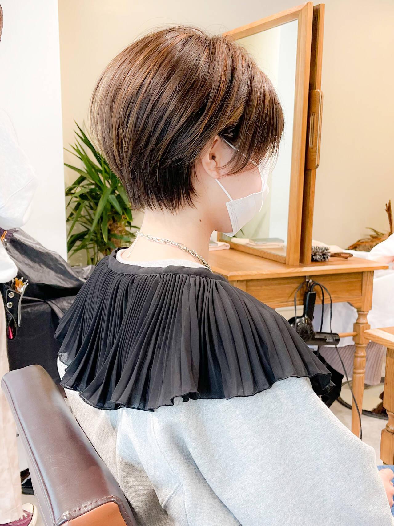 ナチュラル ショート 小顔ショート ベージュヘアスタイルや髪型の写真・画像