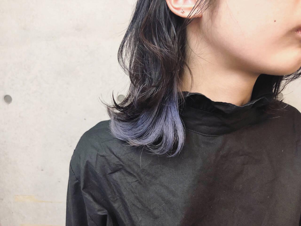 ミディアム インナーカラー 外国人風カラー 外ハネヘアスタイルや髪型の写真・画像